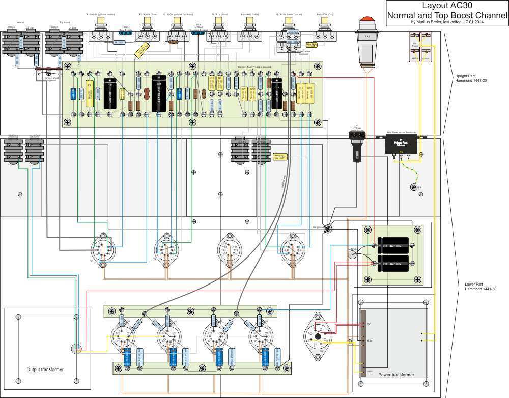 Layout Drawing – DIY Amplifier: AC30